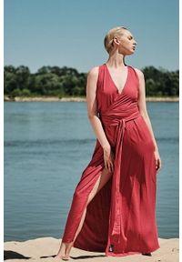 Pomarańczowa sukienka Hultaj Polski maxi, na lato, z kopertowym dekoltem, kopertowa
