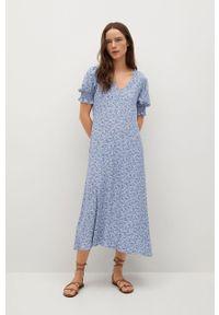 mango - Mango - Sukienka GRAPE. Kolor: niebieski. Materiał: tkanina. Długość rękawa: krótki rękaw. Typ sukienki: rozkloszowane