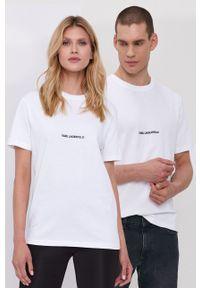 Karl Lagerfeld - T-shirt. Okazja: na co dzień. Kolor: biały. Materiał: bawełna, dzianina. Wzór: gładki. Styl: casual