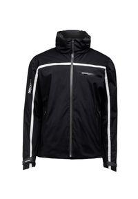 Czarna kurtka narciarska Descente z kontrastowym kołnierzykiem