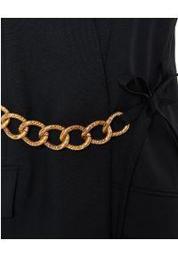 Givenchy - GIVENCHY - Czarna kamizelka ze złotym łańcuchem. Kolor: czarny. Materiał: wełna. Długość: długie. Styl: glamour