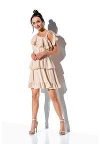 Lemoniade - Zwiewna Sukienka Wiązana na Jedno Ramię - Beżowa. Kolor: beżowy. Materiał: wiskoza, elastan