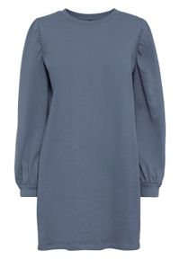 Sukienka dresowa z szerokimi rękawami, bawełna organiczna bonprix niebieski dymny. Kolor: szary. Materiał: dresówka, bawełna