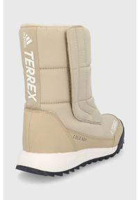 adidas Performance - Śniegowce Terrex Choleah Boot. Nosek buta: okrągły. Zapięcie: rzepy. Kolor: beżowy. Materiał: guma