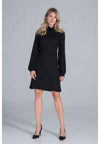 Figl - Dzianinowa Sukienka z Golfem - Czarna. Typ kołnierza: golf. Kolor: czarny. Materiał: dzianina
