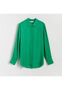 Reserved - Satynowa koszula - Zielony. Kolor: zielony. Materiał: satyna