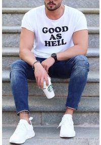 IVET - Męski T-Shirt WILIAM. Okazja: na co dzień. Kolor: biały. Materiał: bawełna, lycra. Styl: casual, elegancki