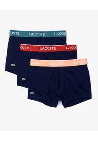 Lacoste - LACOSTE - Bokserki z kontrastowym paskiem 3-pack. Kolor: niebieski. Materiał: bawełna. Wzór: haft, aplikacja