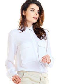 Awama - Biała Koszula z Kieszeniami Typu Kargo. Kolor: biały. Materiał: poliester