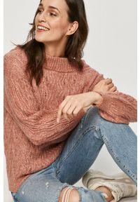 Różowy sweter Answear Lab z długim rękawem, wakacyjny, długi