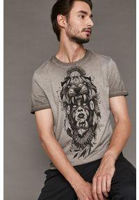 Szary t-shirt medicine z nadrukiem, z okrągłym kołnierzem