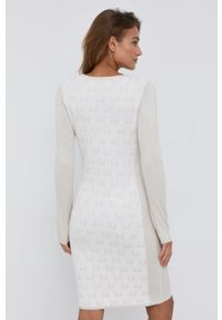 Liu Jo - Sukienka. Okazja: na co dzień. Kolor: biały. Materiał: dzianina, materiał. Typ sukienki: proste. Styl: casual