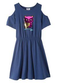 Sukienka dziewczęca z wycięciami na ramionach i obracanymi cekinami, bawełna organiczna bonprix kobaltowy. Kolor: niebieski. Materiał: bawełna. Wzór: aplikacja