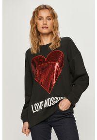 Czarna bluza Love Moschino z aplikacjami, bez kaptura