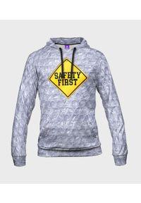 MegaKoszulki - Bluza męska fullprint z kapturem Safety First. Typ kołnierza: kaptur. Materiał: dresówka, dzianina