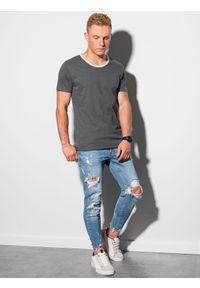 Ombre Clothing - T-shirt męski bawełniany S1385 - grafitowy - XXL. Kolor: szary. Materiał: bawełna. Styl: klasyczny