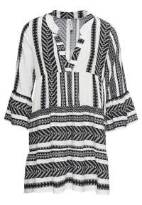 Krótka sukienka letnia bonprix czarno-biały wzorzysty. Typ kołnierza: dekolt w serek. Kolor: czarny. Sezon: lato. Styl: elegancki. Długość: mini