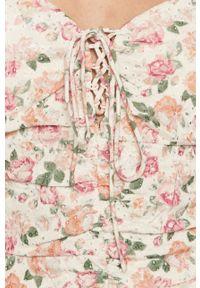 Wielokolorowa sukienka Guess w kwiaty, mini, z krótkim rękawem