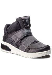 Czarne buty zimowe Geox młodzieżowe, z cholewką