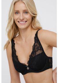 Emporio Armani Underwear - Biustonosz. Kolor: czarny. Materiał: dzianina, materiał, koronka. Rodzaj stanika: odpinane ramiączka, wyciągane miseczki, biustonosz z fiszbinami