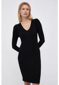 only - Only - Sukienka. Kolor: czarny. Materiał: dzianina, materiał. Długość rękawa: długi rękaw. Typ sukienki: dopasowane