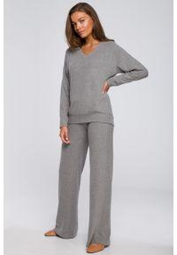 MOE - Szare Dzianinowe Spodnie z Luźną Nogawką. Kolor: szary. Materiał: dzianina