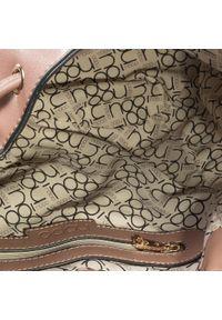 Brązowa torebka worek Nobo casualowa, z aplikacjami, zdobiona