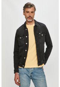 Czarna kurtka Tommy Jeans na co dzień, bez kaptura, casualowa