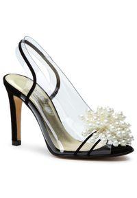 Czarne sandały Azurée eleganckie, na obcasie, na średnim obcasie, z aplikacjami