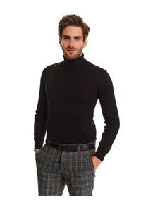 Czarny sweter TOP SECRET z długim rękawem, z golfem