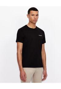 Armani Exchange - ARMANI EXCHANGE - Czarny T-shirt z logo. Okazja: na co dzień. Kolor: czarny. Materiał: jeans. Wzór: nadruk. Styl: casual, klasyczny