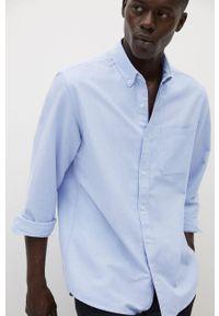 Niebieska koszula Mango Man z długim rękawem, button down, długa