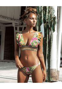 DEL MAAR - Dół od bikini. Kolor: zielony. Materiał: materiał. Wzór: kwiaty