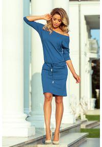 Numoco - Sportowa Sukienka z Wiązaniem z Przodu - Jeans Wiskoza. Materiał: jeans, wiskoza. Typ sukienki: sportowe. Styl: sportowy