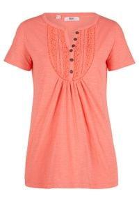 Shirt bawełniany z przędzy mieszankowej, krótki rękaw bonprix łososiowy pomarańczowy. Typ kołnierza: typu henley. Kolor: pomarańczowy. Materiał: bawełna. Długość rękawa: krótki rękaw. Długość: krótkie. Wzór: koronka