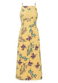 Sukienka midi z nadrukiem i koronką bonprix żółty w kwiaty. Kolor: żółty. Materiał: koronka. Długość rękawa: na ramiączkach. Wzór: kwiaty, koronka, nadruk. Długość: midi