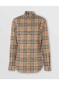 Burberry - BURBERRY - Koszula w kratkę vintage. Kolor: beżowy. Materiał: bawełna. Wzór: kratka. Styl: vintage #4