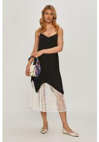 Czarna sukienka TwinSet na ramiączkach, midi