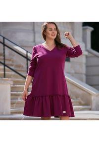 Sukienka dla puszystych Moda Size Plus Iwanek z krótkim rękawem, elegancka, na jesień
