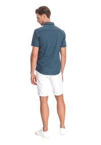 TOP SECRET - Koszula z lnem. Typ kołnierza: kołnierzyk klasyczny. Kolor: niebieski. Materiał: len. Długość rękawa: krótki rękaw. Długość: krótkie. Wzór: kropki. Sezon: lato. Styl: klasyczny #5