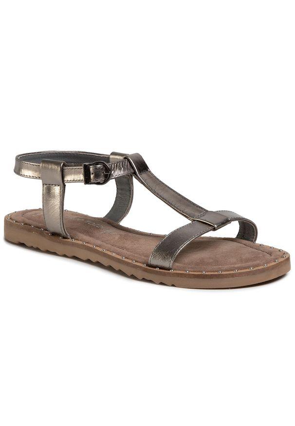 Srebrne sandały Marco Tozzi na co dzień, casualowe