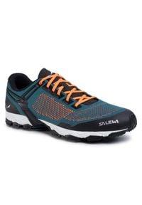Zielone buty trekkingowe Salewa z cholewką, trekkingowe