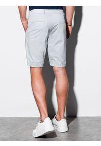 Ombre Clothing - Krótkie spodenki męskie casual W243 - jasnoszare - XXL. Okazja: na co dzień. Kolor: szary. Materiał: bawełna, elastan. Długość: krótkie. Sezon: lato. Styl: casual #3