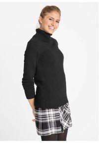 Sweter z golfem bonprix czarny. Typ kołnierza: golf. Kolor: czarny. Wzór: prążki. Styl: elegancki