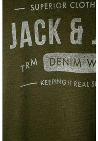 Oliwkowy t-shirt Jack & Jones casualowy, z nadrukiem, na co dzień