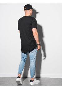 Ombre Clothing - T-shirt męski bawełniany S1378 - czarny - XXL. Kolor: czarny. Materiał: bawełna