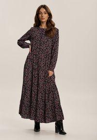 Renee - Czarna Sukienka Daeiphise. Kolor: czarny. Długość rękawa: długi rękaw. Wzór: kwiaty. Długość: maxi