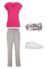 Spodnie slacks ze stretchem Straight Fit bonprix szary. Kolor: szary. Materiał: materiał. Długość: krótkie
