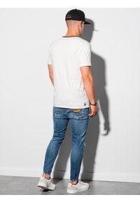 Ombre Clothing - T-shirt męski bawełniany S1385 - biały - XXL. Kolor: biały. Materiał: bawełna. Styl: klasyczny