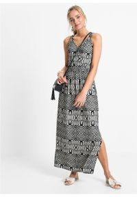 Szara sukienka bonprix z dekoltem w serek, maxi